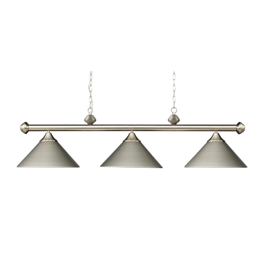 Westmore Lighting Cutter 51-in W 3-Light Satin Nickel Kitchen Island Light with Shade