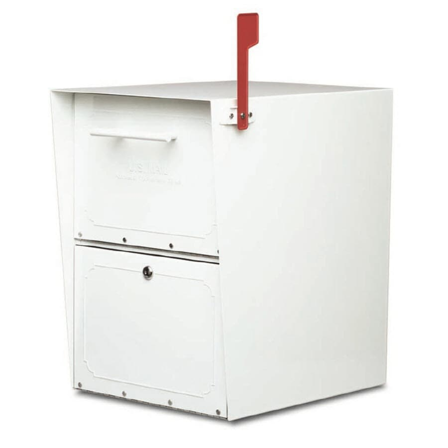 Architectural Mailboxes Oasis 13.5-in x 20-in Metal White Lockable Post Mount Mailbox