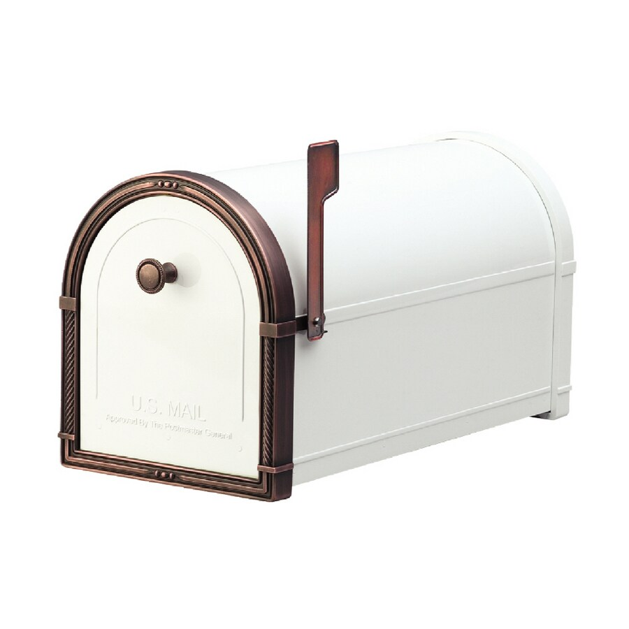 Architectural Mailboxes Coronado 10-in x 11.25-in Metal White with Antique Copper Post Mount Mailbox