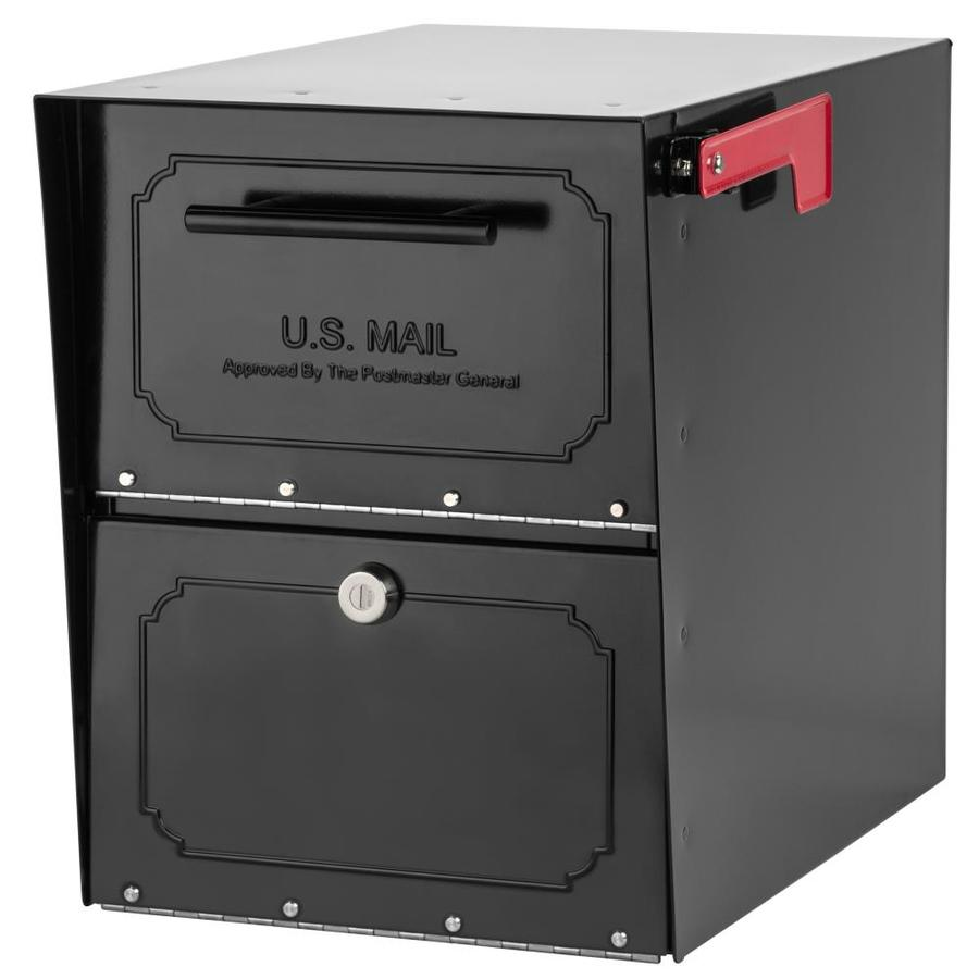 Architectural Mailboxes Oasis Jr 11.5-in x 15-in Metal Black Lockable Post Mount Mailbox