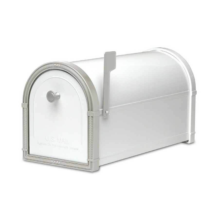 Architectural Mailboxes Bellevue 10-in x 11.25-in Metal White Post Mount Mailbox