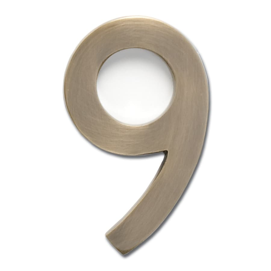 Architectural Mailboxes 4.1-in Antique Brass House Number 9