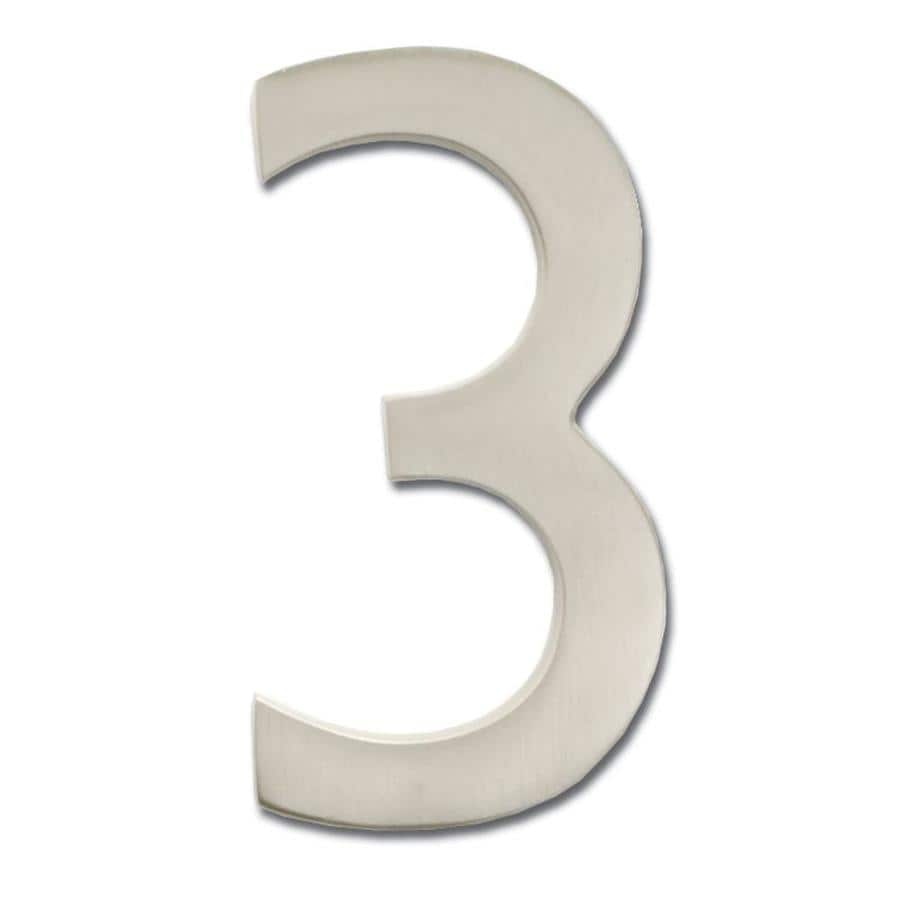 Architectural Mailboxes 3.9-in Satin Nickel House Number 3