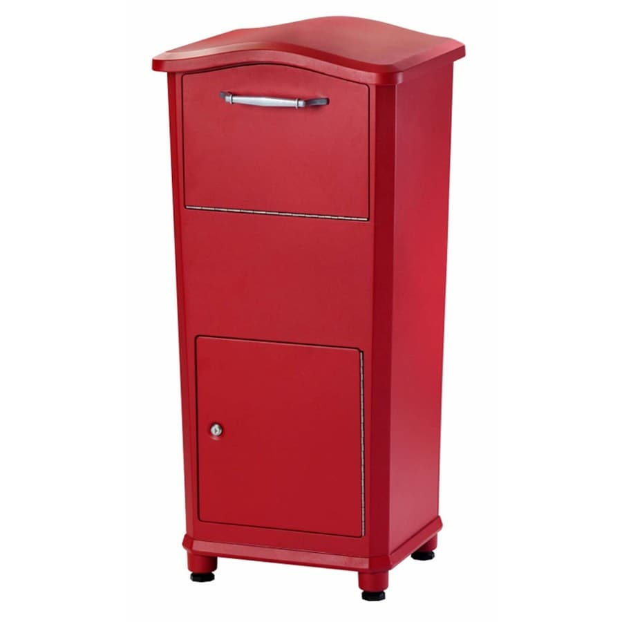Architectural Mailboxes Elephantrunk 17.8-in x 37.2-in Metal Red Lockable Ground Mount Mailbox