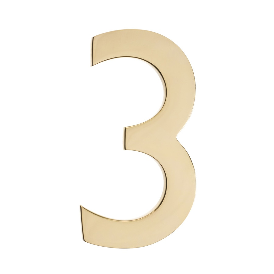 Architectural Mailboxes 3.9-in Polished Brass House Number 3