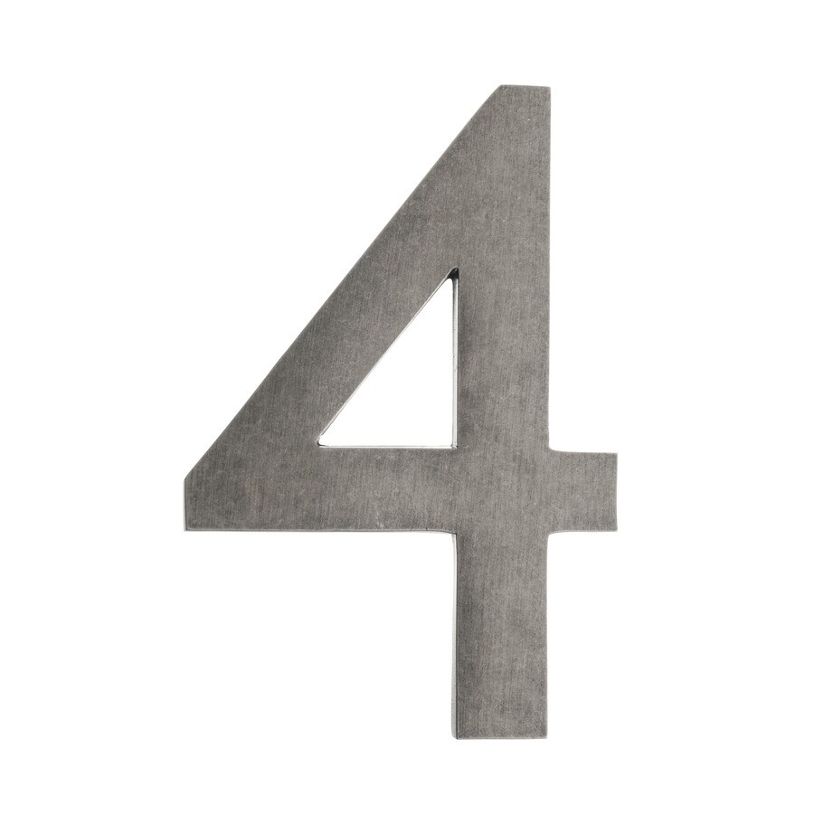 Architectural Mailboxes 5-in Distressed Antique Pewter House Number 4