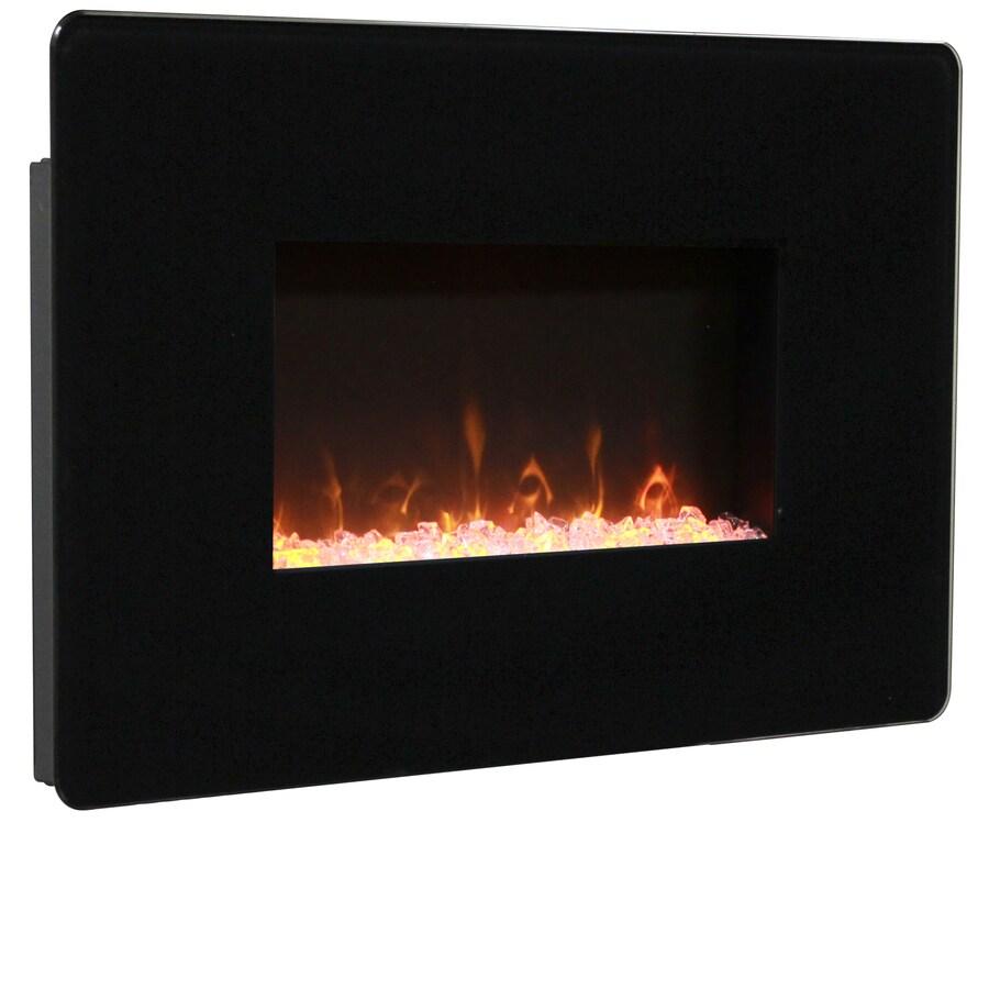 Shop muskoka 27 in w 4 600 btu black metal wall mount fan for 24 wall mount electric fireplace