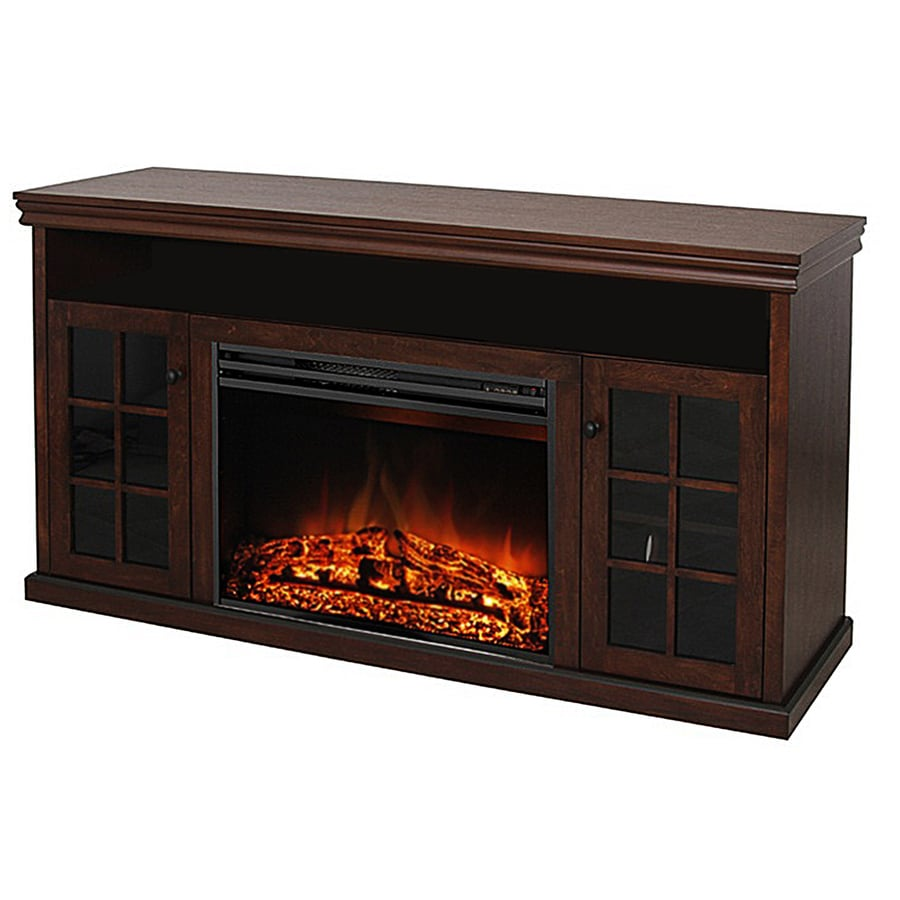 Style Selections 57-in W 5,115-BTU Walnut Wood and Metal Fan-Forced Electric Fireplace with Remote Control