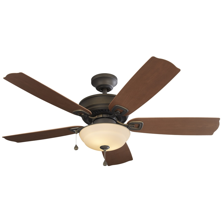 Harbor Breeze Echolake 52-in Oil-Rubbed Bronze Downrod or Close Mount Indoor/Outdoor Ceiling Fan with Light Kit