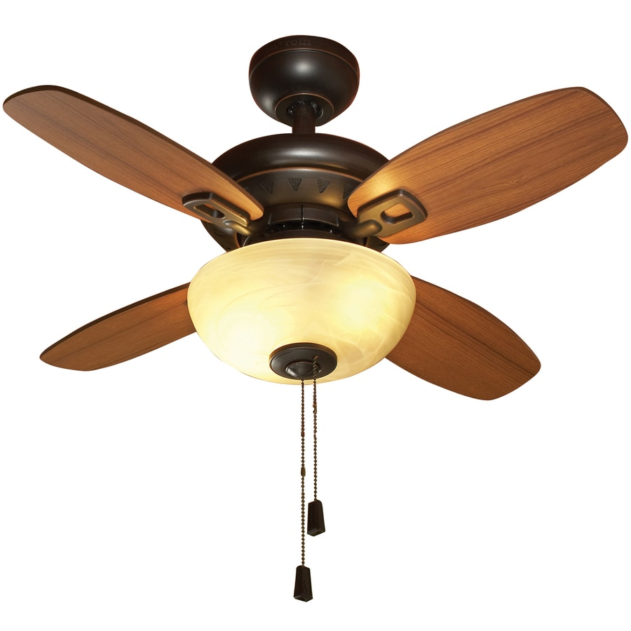 allen + roth Laralyn 32-in Dark Oil-Rubbed Bronze Downrod or Close Mount Indoor Ceiling Fan with Light Kit (4-Blade)