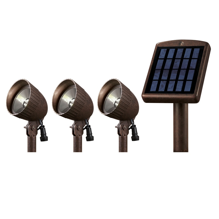 Portfolio 3-Pack Painted Bronze Solar-Powered LED SpotLights