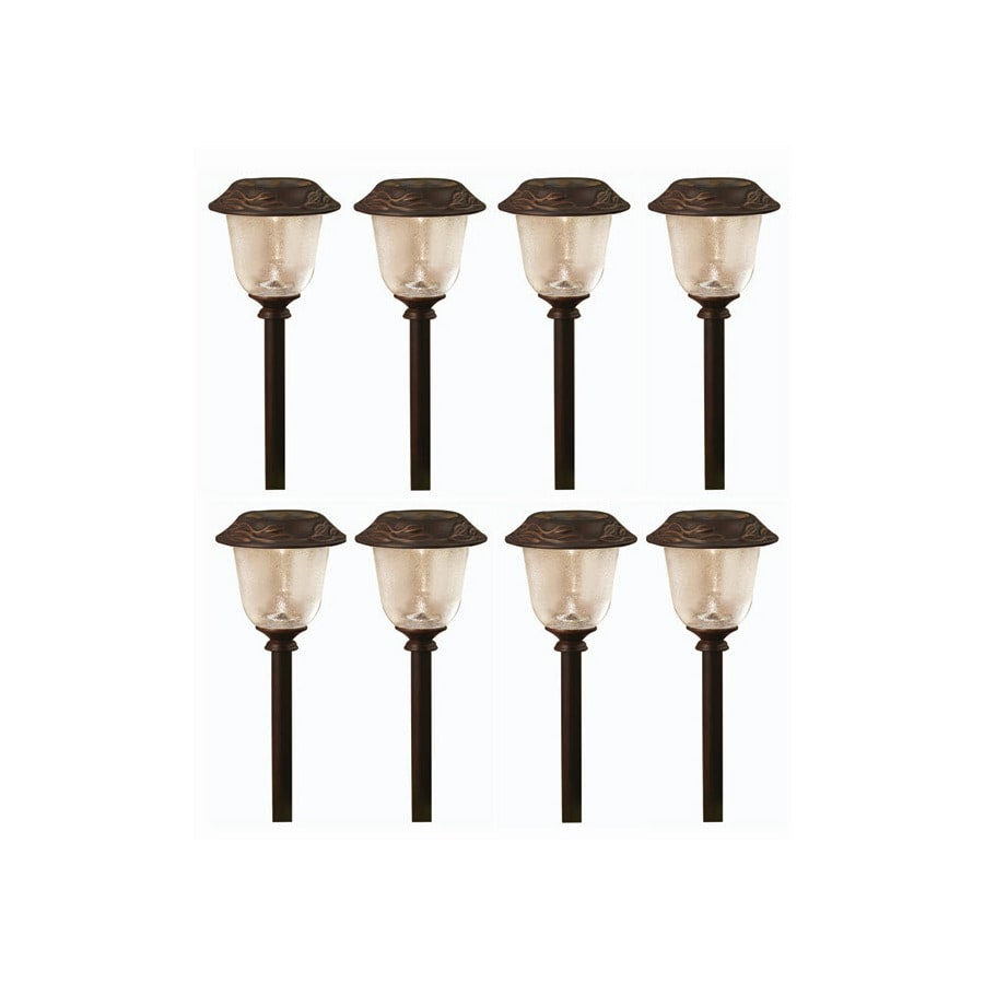 allen + roth 8-Pack Oil-Rubbed Bronze Solar-Powered LED Path Lights