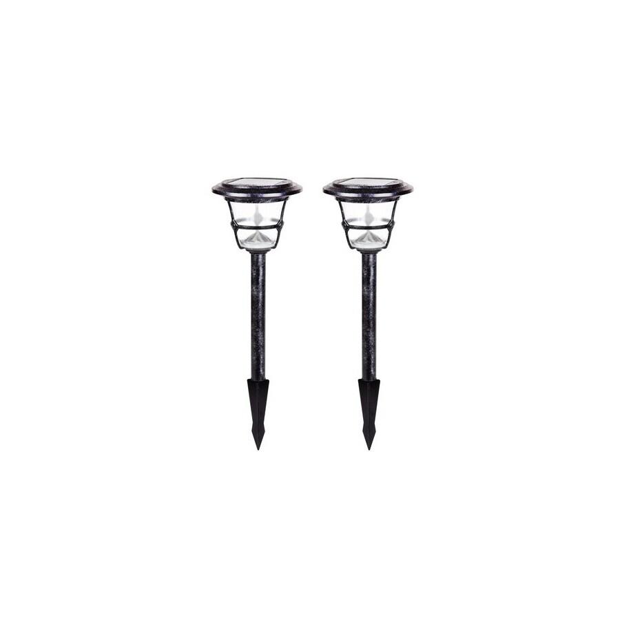 allen + roth 2-Path Light Black Iron LED Path Light Kit