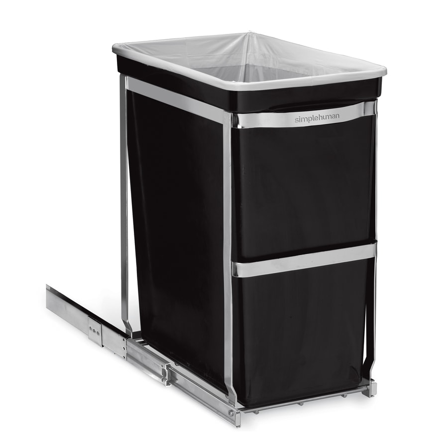 shop simplehuman under counter pull out 30 liter black plastic trash can at. Black Bedroom Furniture Sets. Home Design Ideas