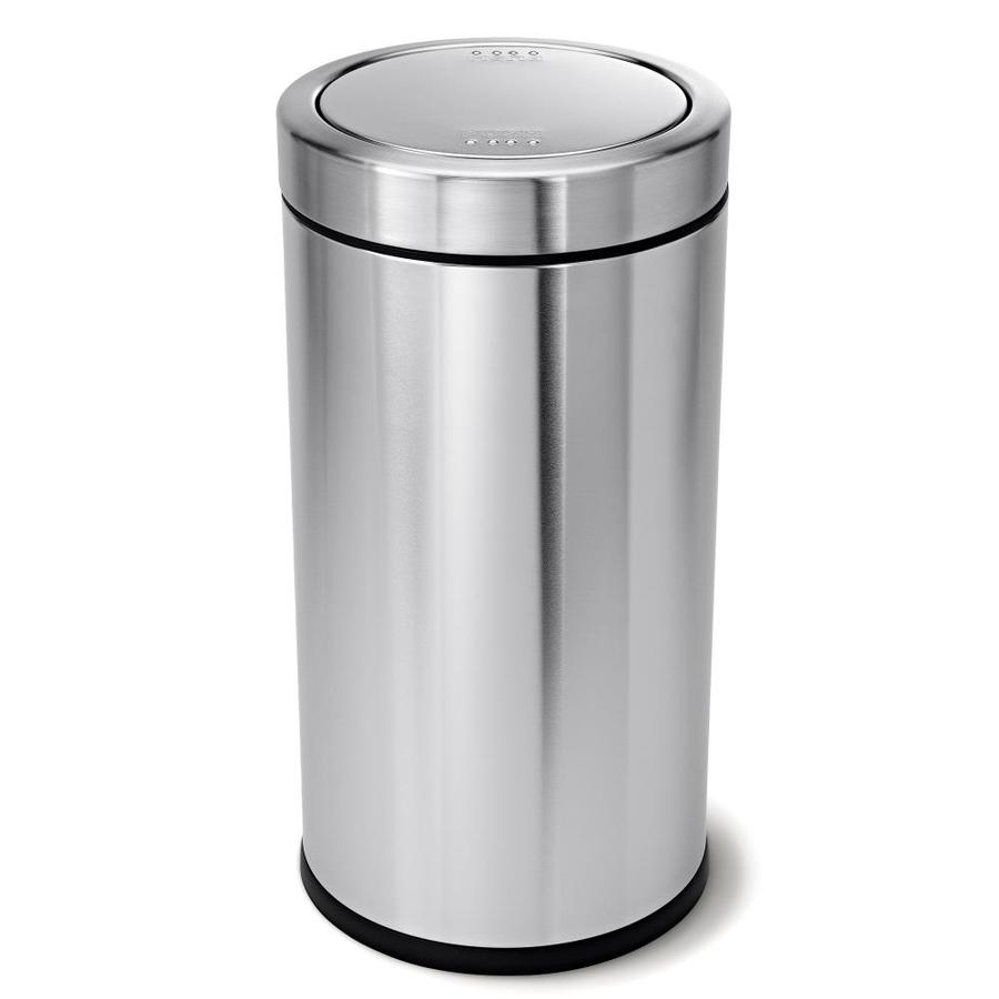 simplehuman Swing Top 55-Liter Brushed Stainless Steel Steel Trash Can with Lid