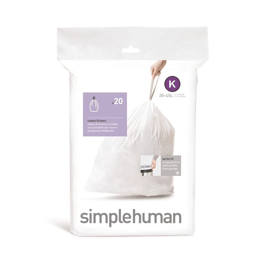 simplehuman Code K 20-Count 12-Gallon White Kitchen Trash Bags