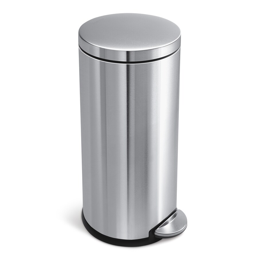 simplehuman Round 30-Liter Brushed Stainless Steel Steel Trash Can with Lid