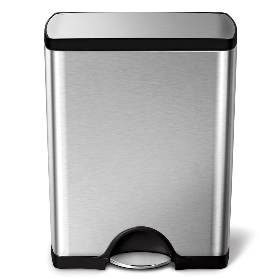 simplehuman Rectangular 50-Liter Brushed Stainless Steel Steel Wheeled Trash Can with Lid