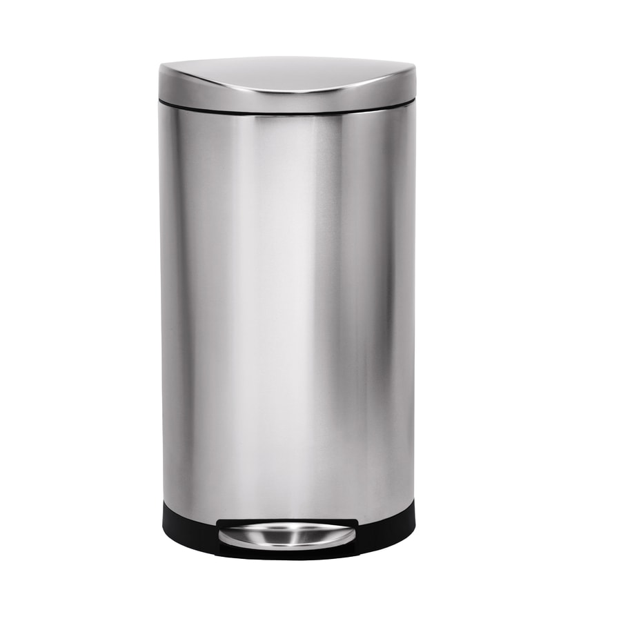simplehuman Semi-Round 30-Liter Brushed Stainless Steel Steel Trash Can with Lid