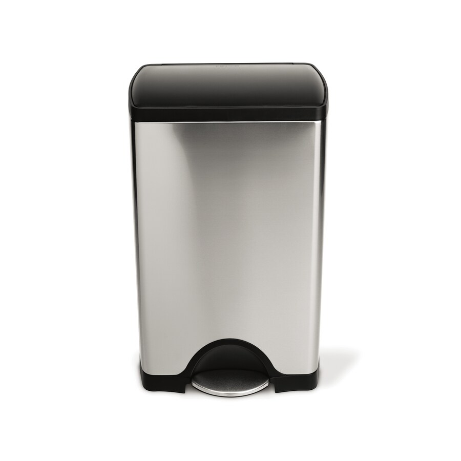 simplehuman Rectangular 38-Liter Brushed Stainless Steel Steel Trash Can with Lid