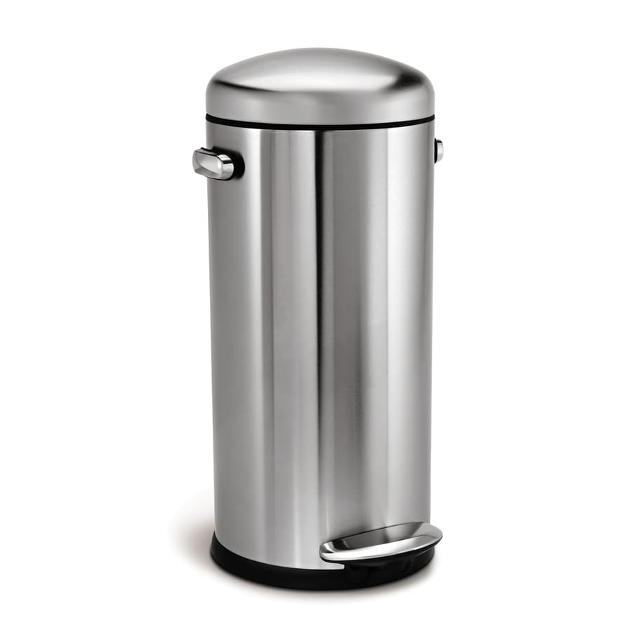 shop simplehuman retro round 30 liter brushed stainless steel steel trash can with lid at. Black Bedroom Furniture Sets. Home Design Ideas