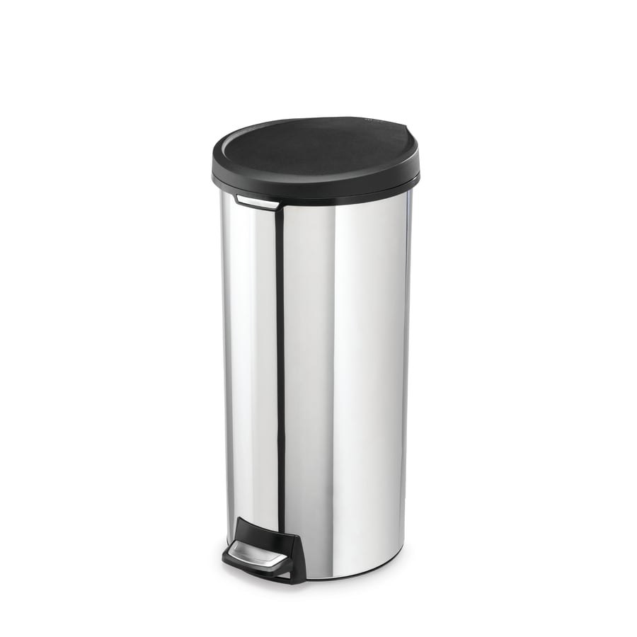 simplehuman 30 Liter Polished Steel Trim Ring Round Step Can