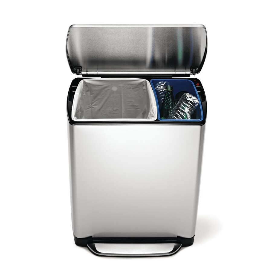 simplehuman Fingerprint Proof Brushed Stainless Steel Rectangular Wide-Step Recycling Recycling Bin with Lid
