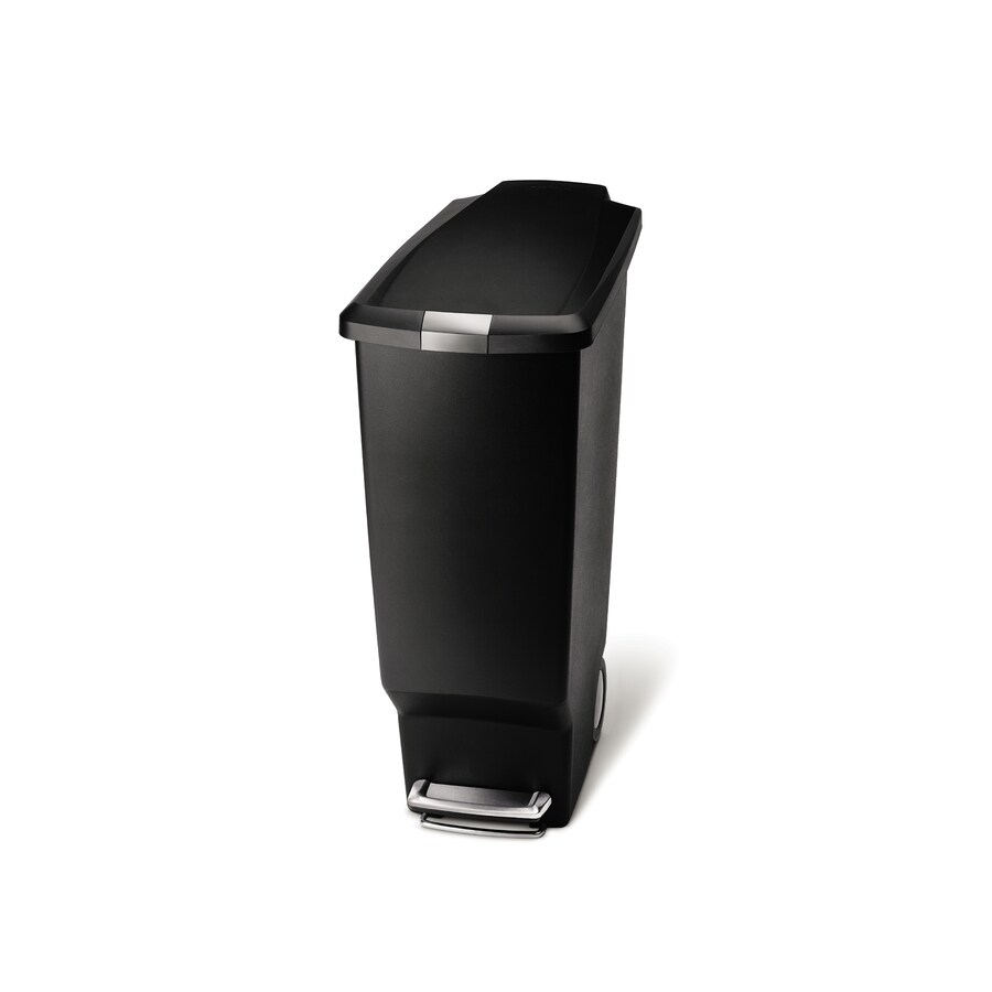 simplehuman Slim 40-Liter Black Plastic Wheeled Trash Can with Lid