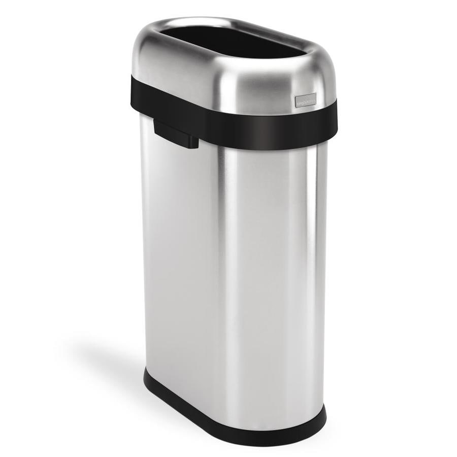 simplehuman Slim Open-Top 50-Liter Brushed Stainless Steel Steel Touchless Trash Can with Lid