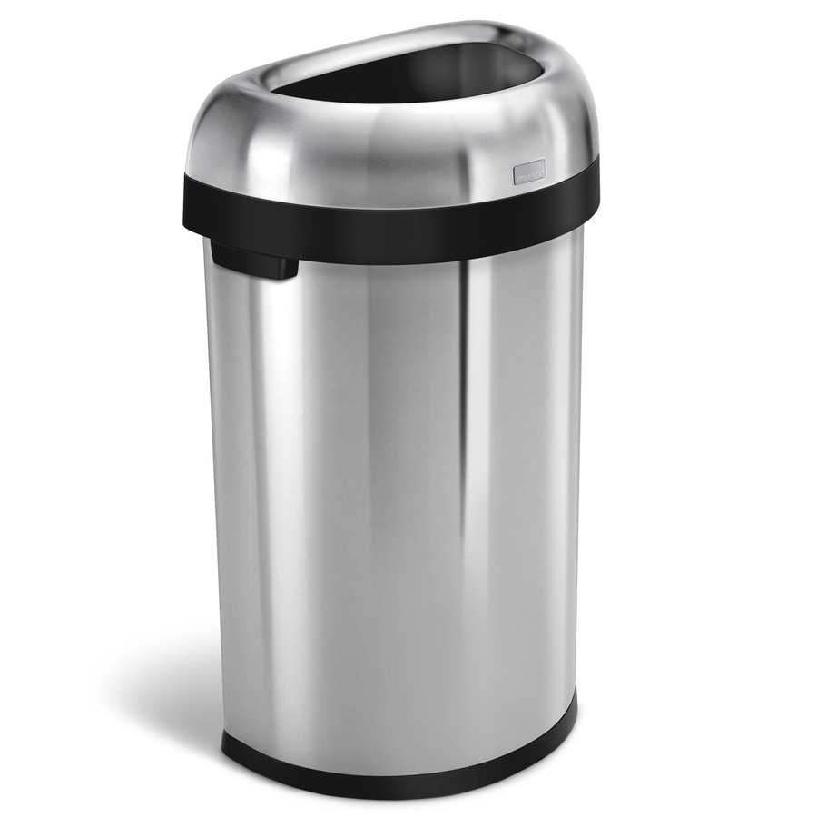 simplehuman Semi-Round Open-Top 60-Liter Brushed Stainless Steel Steel Touchless Trash Can with Lid