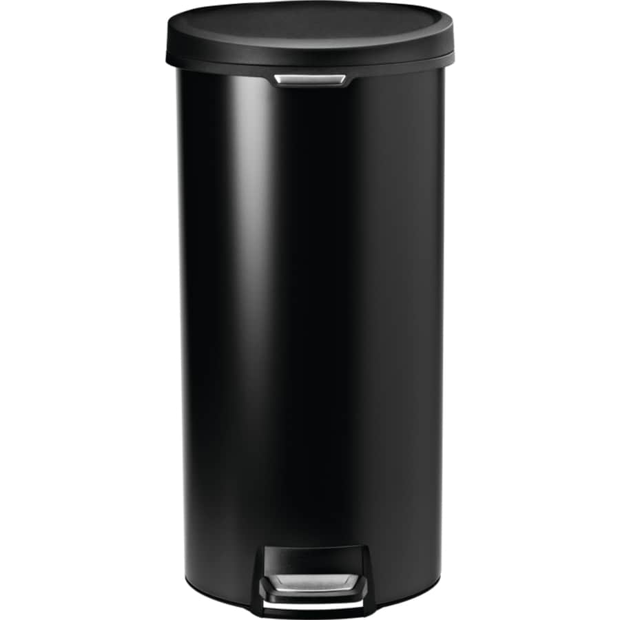 Shop simplehuman 30 liter black stainless steel indoor for Simplehuman trash can