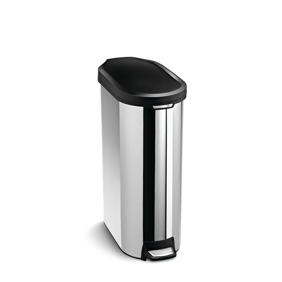 simplehuman 45 Liter Polished Slim Trim Ring Step Can