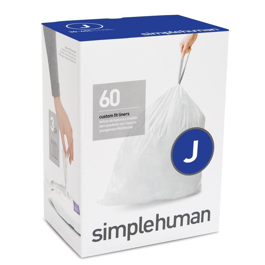 simplehuman Code J 60-Count 10.5-Gallon White Kitchen Trash Bags