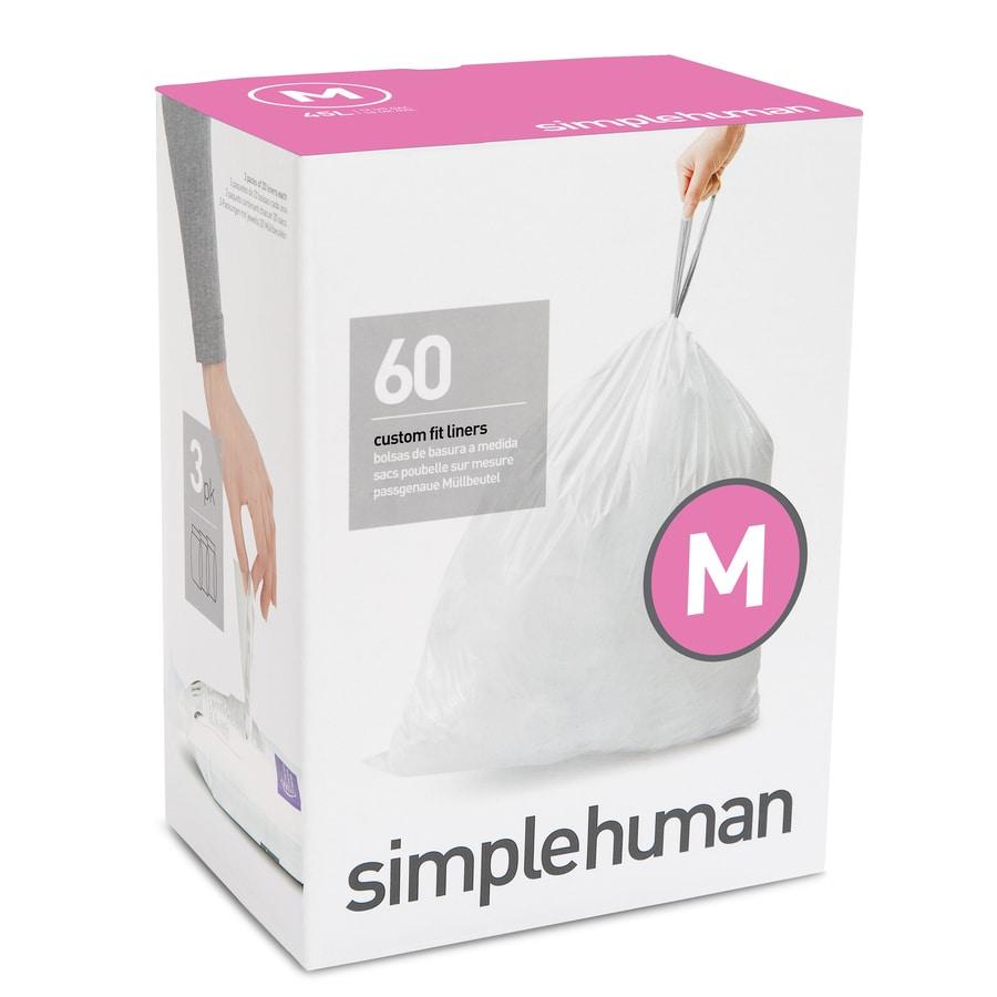 simplehuman Code M 60-Count 12-Gallon White Kitchen Trash Bags