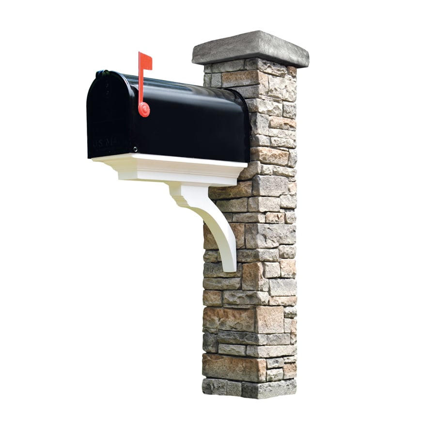 Eye Level Gray Cast Stone Mailbox Post