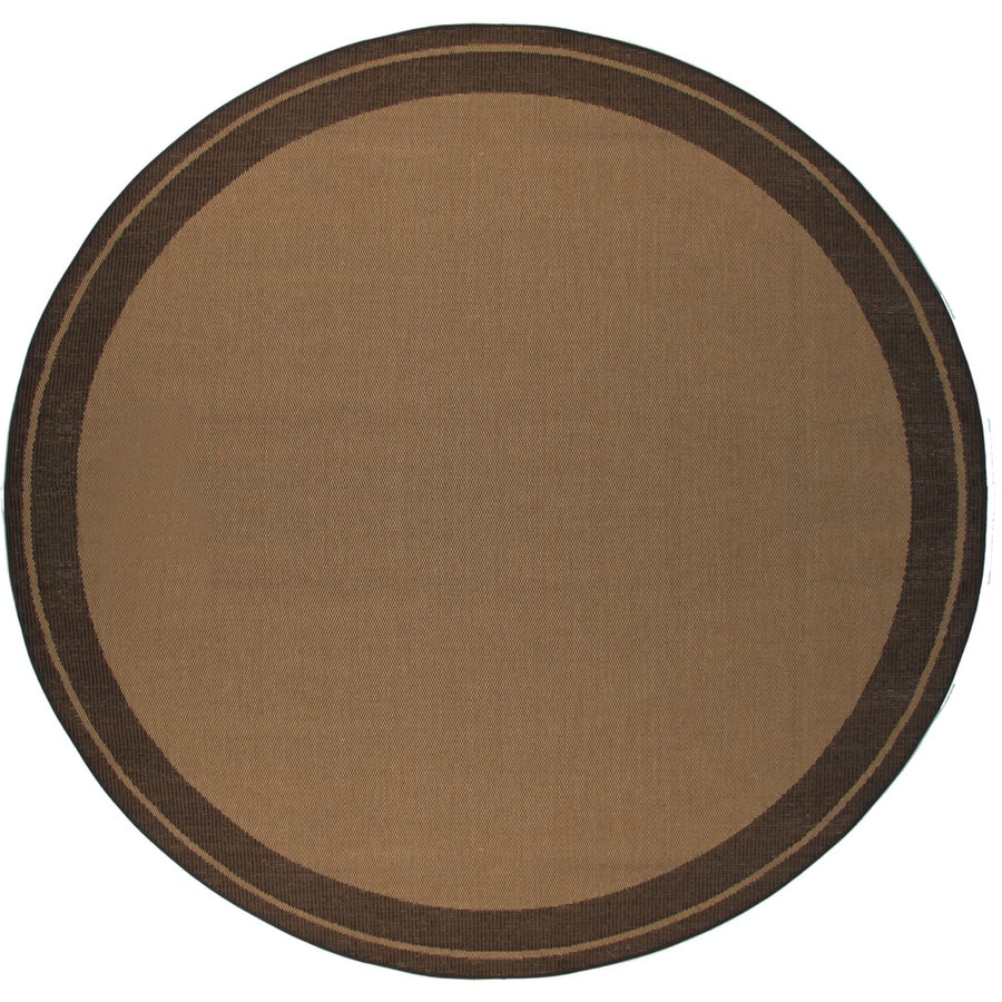 Balta Decora Round Brown with Black Border Indoor/Outdoor Area Rug (Common: 7-ft x 7-ft; Actual: 6-ft 9-in x 6-ft 9-in)