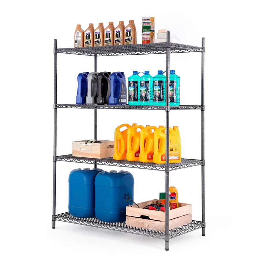 Style Selections 4-ft x 24-in Black and Silver Wire Shelf