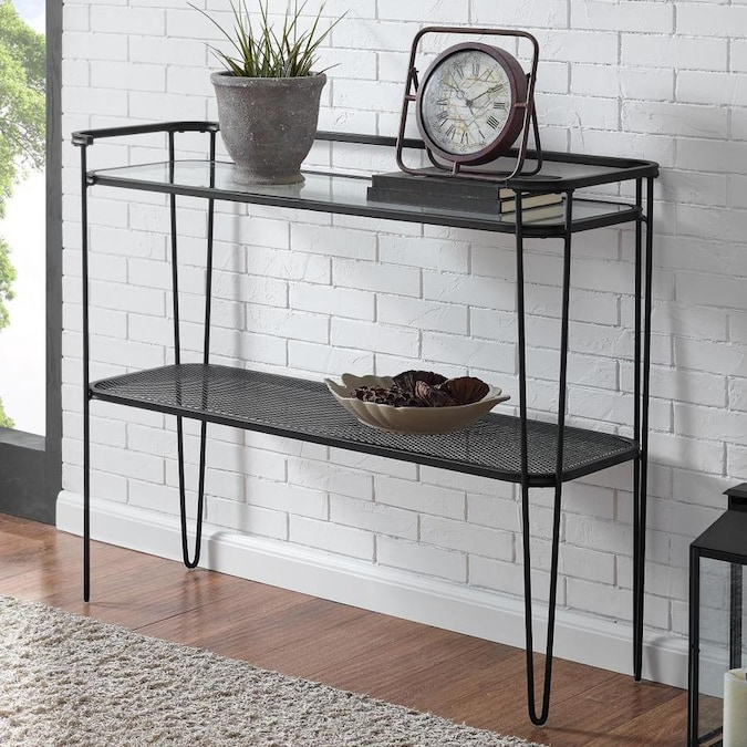 Walker Edison Glass Industrial Console Table In The Console Tables Department At Lowes Com