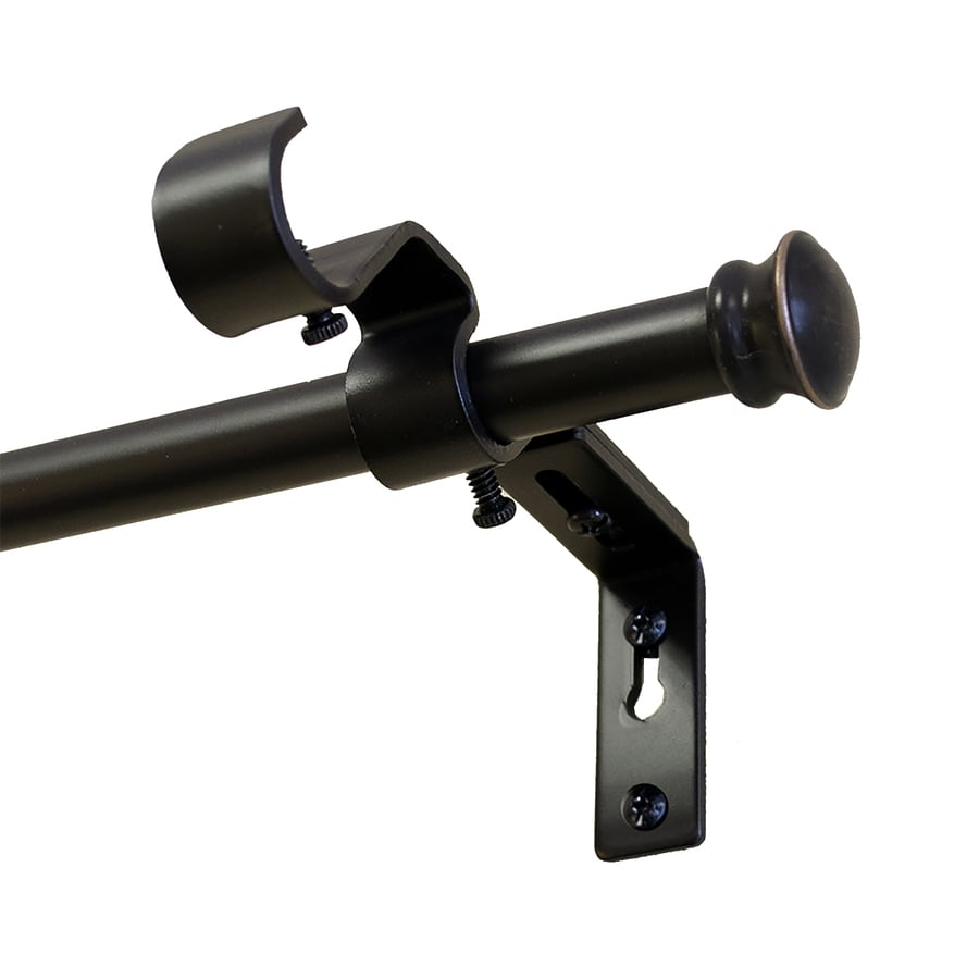 Style Selections 28-in to 84-in Dark Oil-Rubbed Bronze Steel Double Curtain Rod