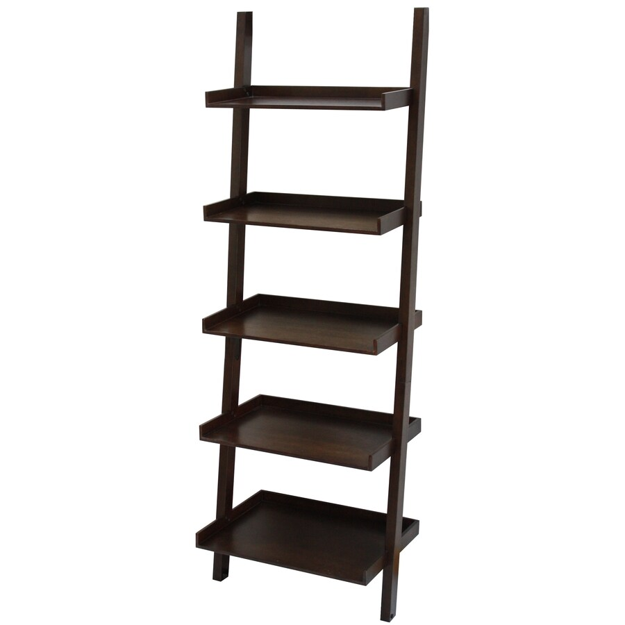 allen + roth 74.75-in H x 25.75-in W x 17.5-in D 5-Tier Wood Freestanding Ladder Shelving Unit