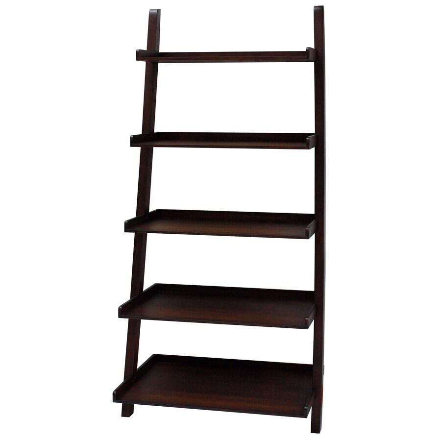 allen + roth 6-ft .75-in H x 2-ft 3-in W x 1-ft 5.63-in D 5-Tier Wood Freestanding Ladder Shelving Unit