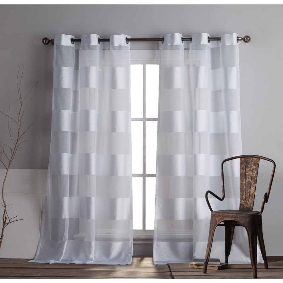 Shop Duck River Textile 84 In White Polyester Grommet Light Filtering Curtain Panel Pair At