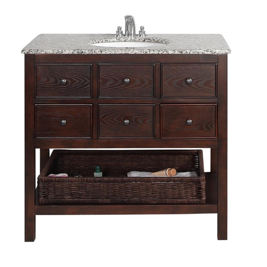 Shop Simpli Home Burnaby Walnut Undermount Single Sink Birch Bathroom Vanity With Granite Top