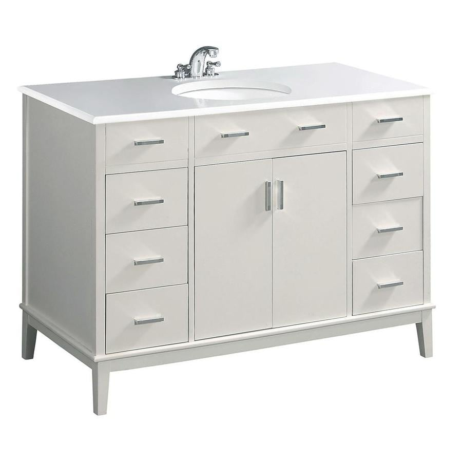 Simpli Home Urban Loft White Undermount Single Sink Birch Bathroom Vanity with Engineered Stone Top (Common: 48-in x 21.5-in; Actual: 49-in x 21.5-in)