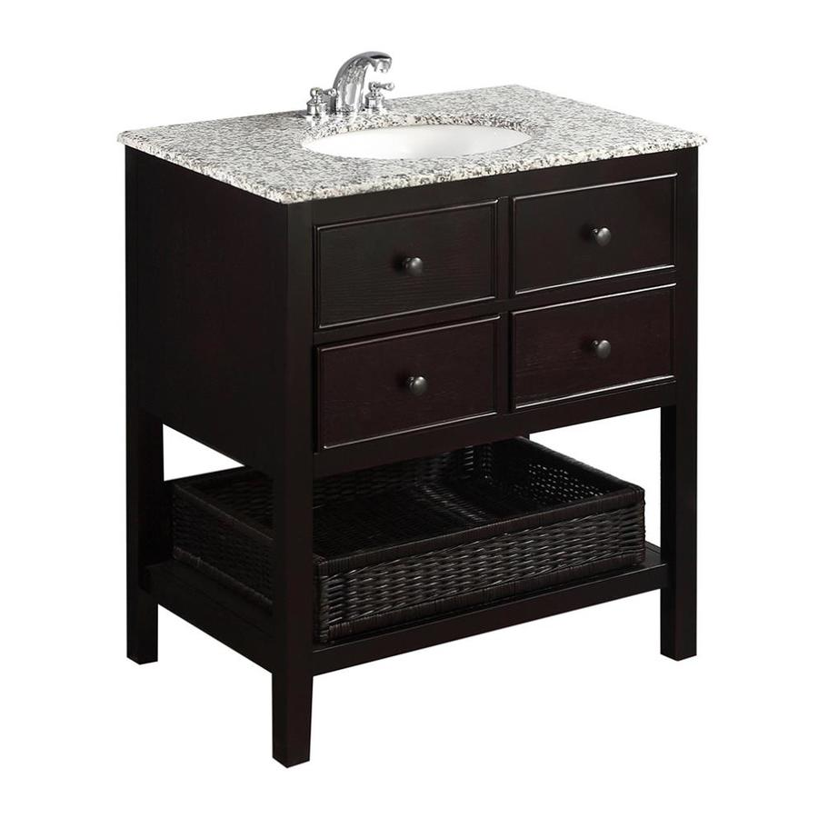 Simpli Home Burnaby Espresso Undermount Single Sink Birch Bathroom Vanity with Granite Top (Common: 30-in x 21.5-in; Actual: 31-in x 21.5-in)