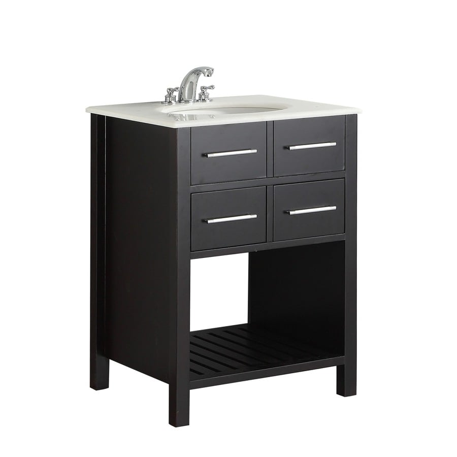 Simpli Home Soho Black Undermount Single Sink Birch Bathroom Vanity with Natural Marble Top (Common: 24-in x 21-in; Actual: 25-in x 21.5-in)