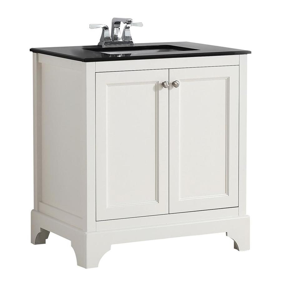 Shop simpli home cambridge soft white undermount single sink birch bathroom vanity with granite for 30 x 21 bathroom vanity white