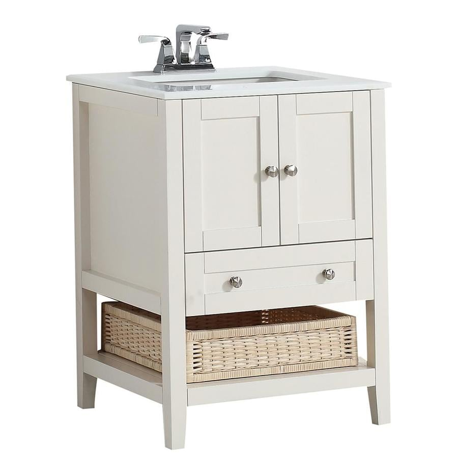 Simpli Home Cape Cod Soft White Undermount Single Sink Birch Bathroom Vanity with Engineered Stone Top (Common: 24-in x 21.5-in; Actual: 25-in x 21.5-in)