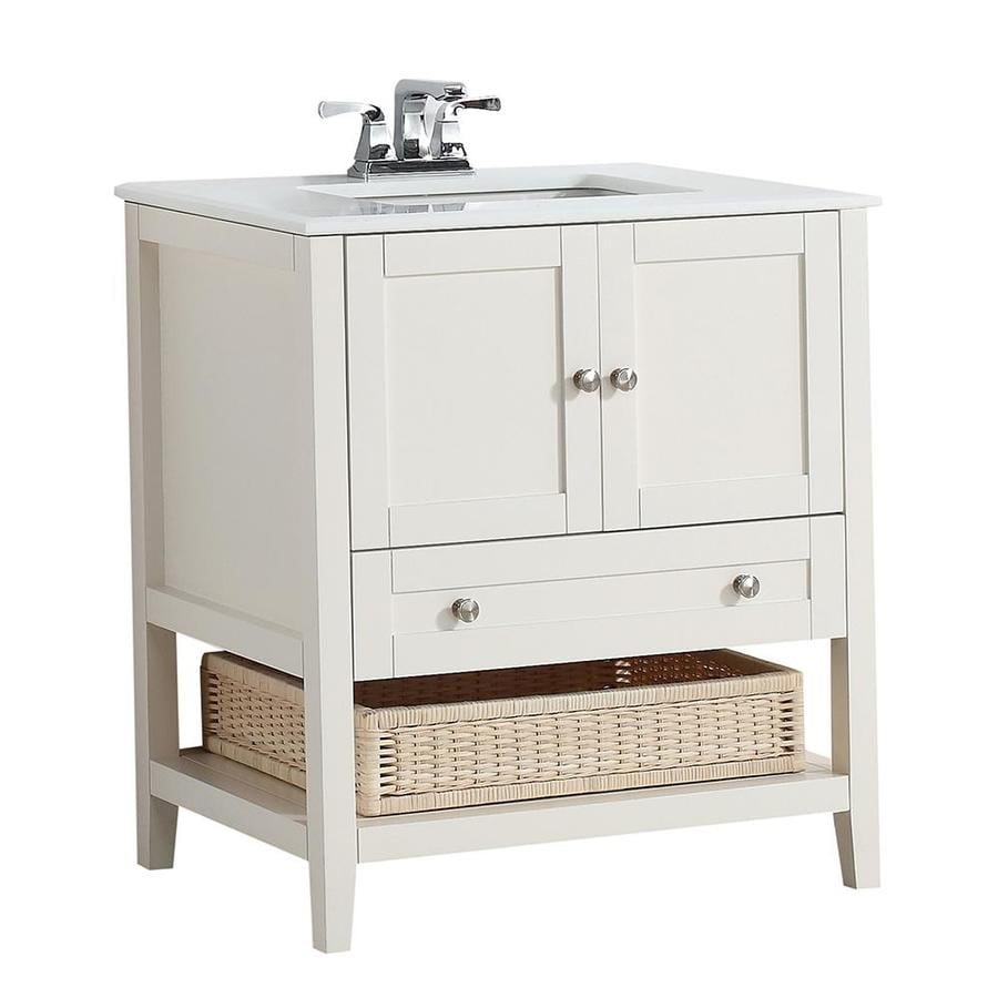 Simpli Home Cape Cod Soft White Undermount Single Sink Birch Bathroom Vanity with Engineered Stone Top (Common: 30-in x 21.5-in; Actual: 31-in x 21.5-in)