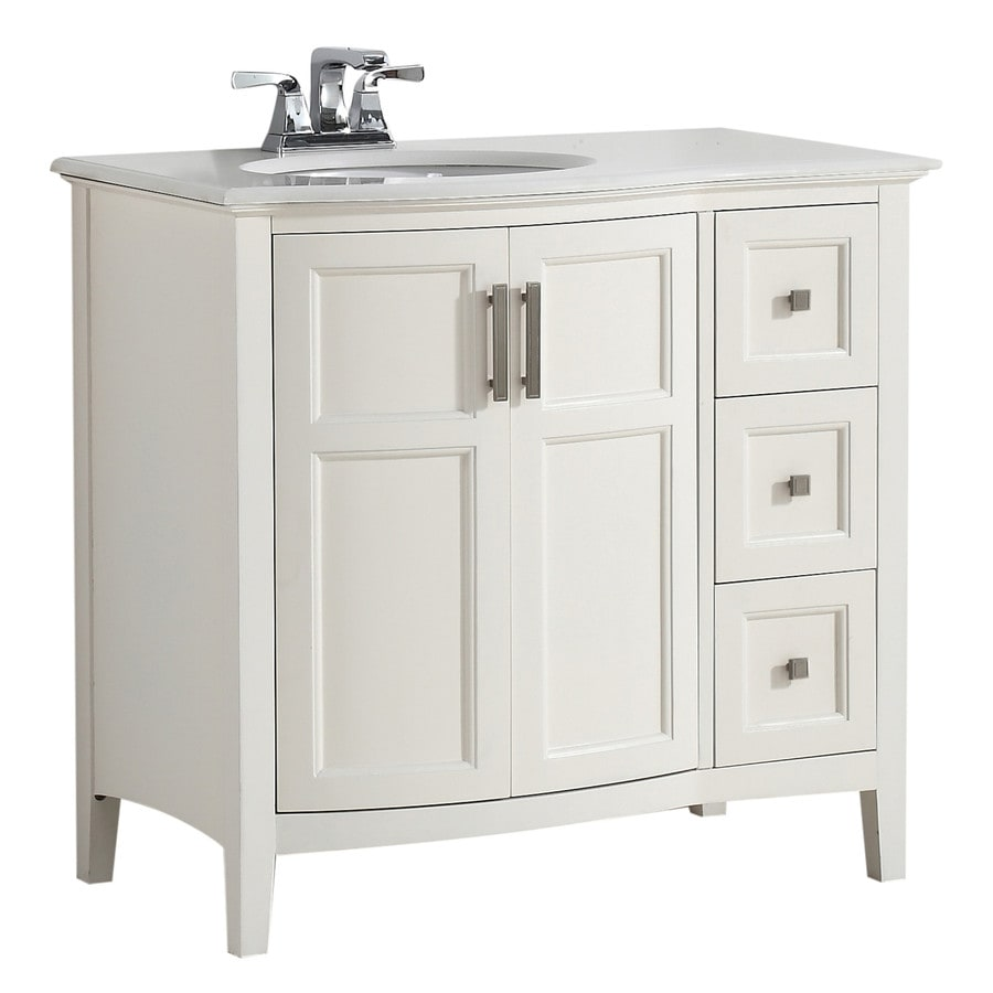 Shop simpli home winston soft white undermount single sink for Bath vanities with tops